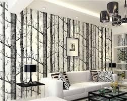 Us 3325 39 Offbeibehang Papel De Parede Interieur Abstract Behang Zwart Wit Bomen Nonwovens Geavanceerde Achtergrond Wit Birch Woods Tapety In