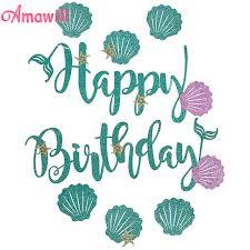 Amawill Glitter Mermaid Happy Birthday Banner Blue Letter Purple