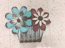 metal flower pot with turquoise and red