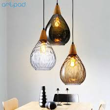 Online Shop <b>Artpad</b> Nordic Wooden&Glass <b>Pendant Light</b> For Living ...