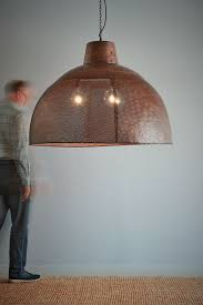 riva extra large antique copper perforated iron dome pendant light