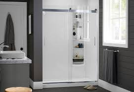 a frosted or clear glass door gives the shower a clean rous look