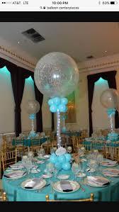 Tiffany Colored Balloon Centerpiece Silver & Tiffany Sparkle Balloon  Centerpiece with Custom Cutout Logo & Lights