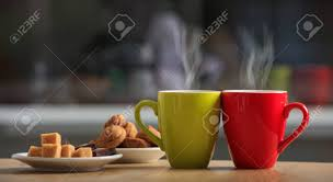 office coffee cups. Cups Of Coffee And Cookies On An Office Table Stock Photo - 61920452 B