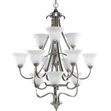 progress lighting torino brushed nickel 12 light chandelier with etched glass shades