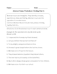 Nouns Worksheets | Abstract Nouns Worksheets