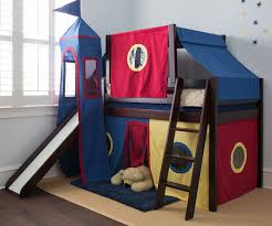 image of boys loft bed with slide and tent