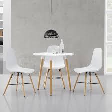 Esstisch Weiß Mit 2 Stühlen Weiß ø80cm Tisch Essgruppe Stühle Set Ebay