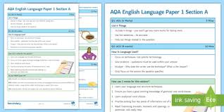 How To Revise A Paper Aqa English Language Paper 1 Section A Support Guide Aqa