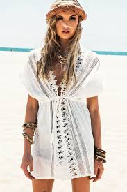 White Short Sleeve V Neck Cotton Beach Caftans Lace Crochet Tunic