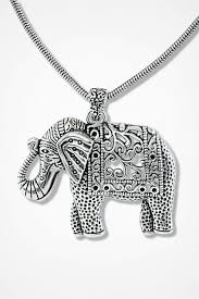 elephant necklace silver large