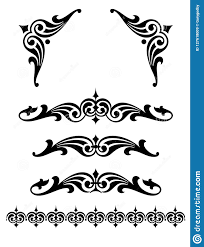 Scroll Border Designs Bold Scroll Design Set With Corner Pieces Stock Illustration