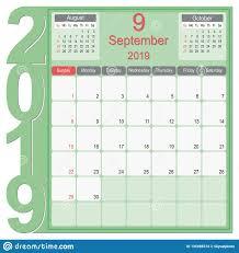 September 2019 Calendar Monthly Planner Design Stock Vector