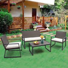 garden patio furniture. 4pcs rattan patio furniture set wicker cushioned seat sofa garden lawn h