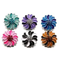 new beauty trendy colorful rotating flowers 18mm metal snap ons fit diy snap jewelry whole mdb18 381
