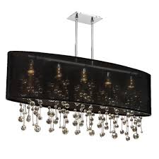 glow lighting soho crystal silver and black 45 inch five light linear pendant