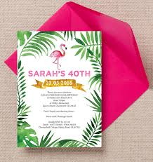 Tropical Party Invitations Pink Flamingo Tropical Themed 40th Birthday Party Invitation From