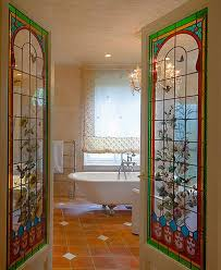 stained bathroom glass doors
