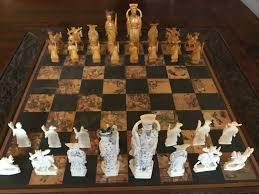 chinese chess set in wooden box with special bone or ivory pieces