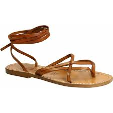 women s vintage cuir strappy leather sandals handmade in italy loading zoom