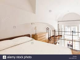 Innere Heimat Schöne Schlafzimmer Einfache Einrichtung Stockfoto
