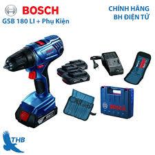 Máy khoan vặn vít dùng Pin Máy khoan động lực Bosch GSB 180 LI kèm Phụ Kiện  18V Bảo hành điện tử 6 tháng