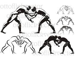 Wrestling Vector Silhouettes Clipart Eps Ai