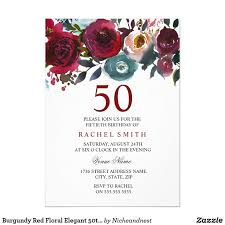 burgundy red fl elegant 50th birthday invite burgundy red fl elegant 50th birthday invite can change text and color as you wish