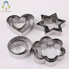 12pcs/set Stainless Steel Cookie Biscuit DIY <b>Mold Star</b> Heart Round ...