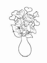 Small Picture Rose in Vase Flower Bouquet Coloring Page Color Luna