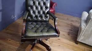 green leather office chair. Chesterfield Captains Gainsborough Desk Chair Dark Green Leather Office N