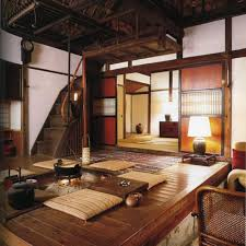 Japanese folk interior in shades of brown and beige