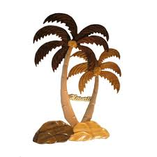 image 1 on wood palm tree wall art with hawaiian style wood wall hanging two coconut palm trees 11 5 x 8