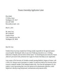 Sample Finance Internship Cover Letter Sample Accounting Internship Cover Letter Accounting Internship