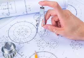 Mechanical Engineer Picture Mans Hand With A Compass Mechanical Engineer At Work Technical