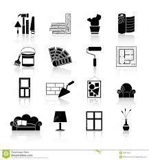 Icon For Interior Design Interior Design Icons Black Stock Vector Illustration Of