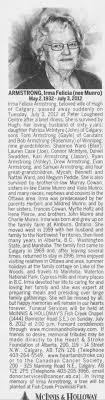 Obituary for Irma Felicia ARMSTRONG, 1932-2012 - Newspapers.com