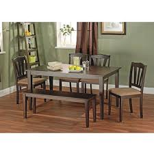 Kitchen Table With Bench Set Black 6 Piece Dining Set With Table Bench And Five Chairs