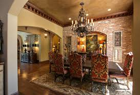 mediterranean dining room furniture. Dining Room Wall Molding Mediterranean With Upholstered Chairs Nail Head Detail Area Rug Furniture