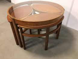 Teak And Glass Coffee Table Nested Coffee Table Glass Nesting Tables Set Of 3 Foter Stylish