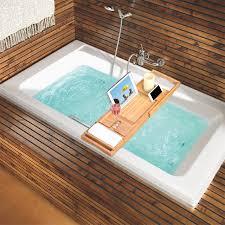 LANGRIA 100% Natural Bamboo Bathtub Caddy Tray Organizer Extendable  Bathroom Storage Stand Bath Tray Book