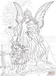 Children Are Protected By Guardian Angel Coloring Page Free