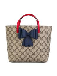Childrens Designer Bags Gucci Kids Gg Tote Bag Bow Blue Red Detail Style