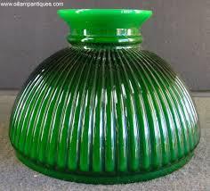 green ribbed glass lamp shade