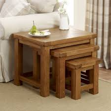 rustic oak large nest of tables the