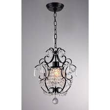 black indoor crystal chandelier with shade