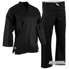 Proforce 6 Oz Karate Uniform Elastic Drawstring 55 45 Blend With Free White Belt Black 0000