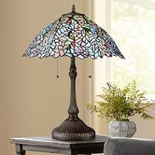 tiffany stained glass lamp. Quoizel Blue Trellis Russet Tiffany Style Art Glass Table Lamp Stained