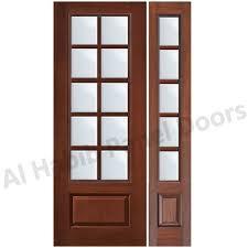 classic wood door design with glass