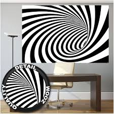 Black And White Mural Design Mural 3d Black And White Tunnel Modern Design Wallpaper Doppler Effect Abstract Graphic Poster Tunnel Optic Wall Decor 82 7 X 55 Inch 210 X 140